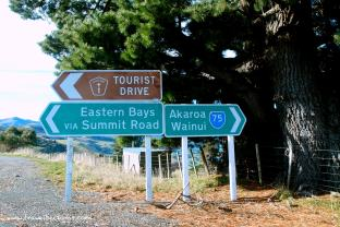 Signboards along the way from Christchurch to Akaroa