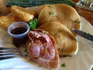 Yummy pancakes at Punakaiki Tavern