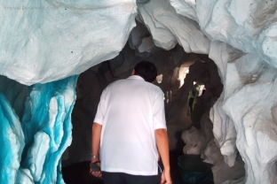 Entering a cave
