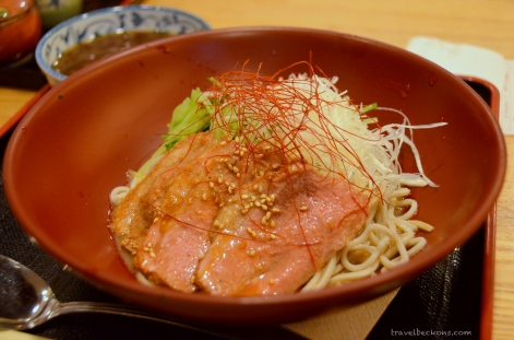 Duck meat soba.
