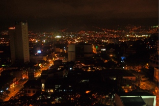 Nightview from our room in Medellin